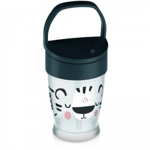 LOVI Kubek ze słomką JUNIOR 250ml Salt&Pepper 12m+